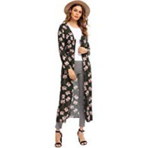 Meaneor Long Sleeve Floral Button-Front Maxi Dress
